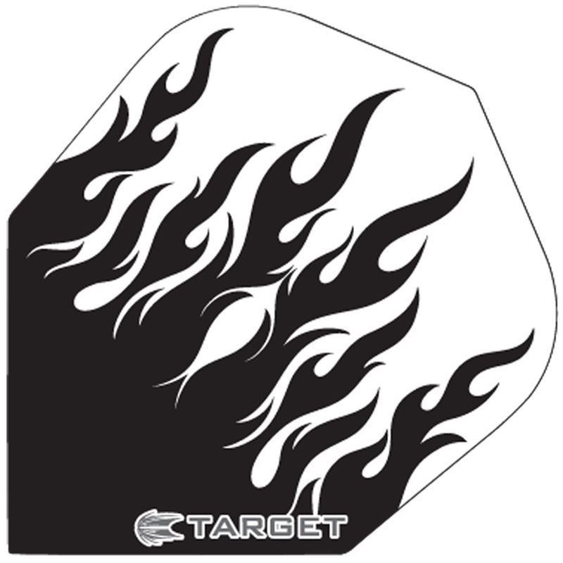 Target Darts White with Black Flames - Pro 100 Flight Standard