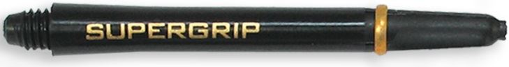 Dart World Supergrip Shafts Black with Gold Ring - Medium